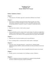 Bowlby Volumes Study Questions