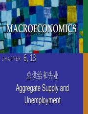 CHAP06&13 aggregate supply and unemployment