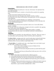 INDOOR SOCCER STUDY GUIDE