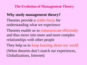 Ch 2 - The Evolution of Management theory
