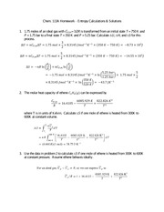 Entropy HW and Solutions