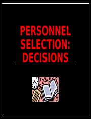 I-O Psychology Personnel Selection Decisions