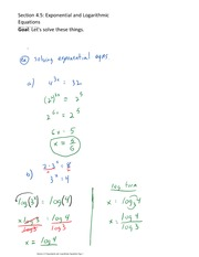 Section 4.5 Exponential and Logarithmic Equations