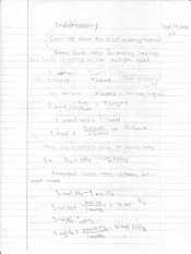 Notes on Stoichiometry