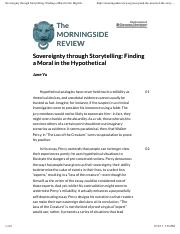 Yu - Sovereignty through Storytelling- Finding a Moral in the Hypothetical – The Morningside Review.