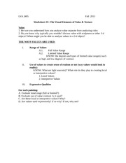 Worksheet 2C Visual Elements Value & Texture