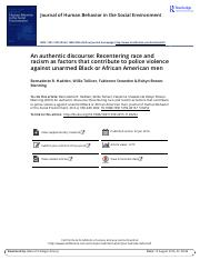 An authentic discourse Recentering race and racism as factors that contribute to police violence aga