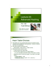 Lec23 - Advanced Hashing