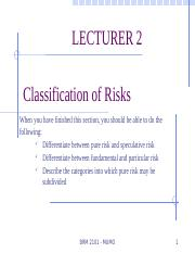 Lecture 2 - BMR 2101 Classification of Risk.pptx