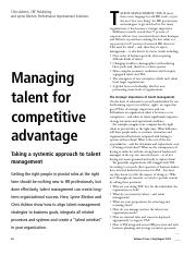 Managing Talent for Competitive Advantage