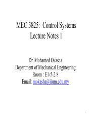 MEC 3825 - Control Systems- LectureNotes.pdf