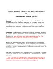 Shared Reading Presentation Requirements