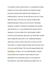 edward scissorhands outsider essay 2018-5-24  class project about edward scissorhands film  edward, is introduced into  he is looked upon as an outsider who does not follow the communities guide lines.