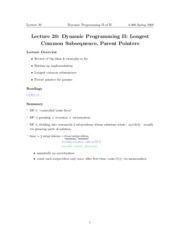 Dynamic Programming II notes