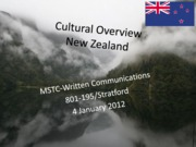 Cultural Overview New Zealand