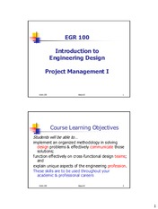 Week 08 Lecture Notes - Project Management I