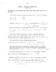Math 5C Final Exam Summer 2013 SOLUTIONS