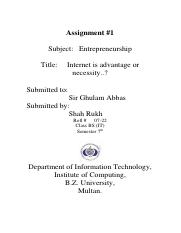 Assignment Internet can be a source of Advantage for one firm to another by shah rukh