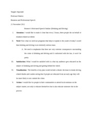 monroe s motivated sequence of drinking and driving speech worst 1 pages monroe s motivated sequence of drinking and driving speech outline