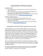 Hanson Independent Writing Project