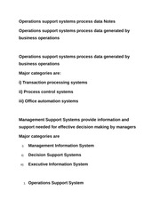 Operations support systems process data Notes