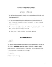 Section 1. Energy and Nutrients