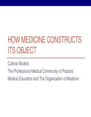 Week 3 - Medical Object- The Organization of Medicine-Education