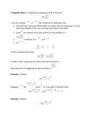 Using L'Hopital's Rule for Integration Notes