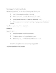Summary of the factoring methods