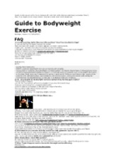 Guide to Bodyweight Exercise