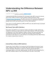 Understanding the Difference Between NPV vs IRR