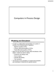 CHEN 470 - Part 2 - Computers in Process Design - Fall 2015-16