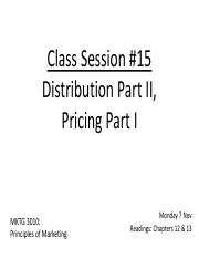 Class 15 Distribution II Pricing I