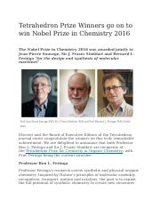 Tetrahedron Prize Winners go on to win Nobel Prize in Chemistry 2016.docx