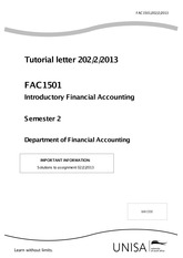 Fac 1501 Financial Accounting University Of South Africa