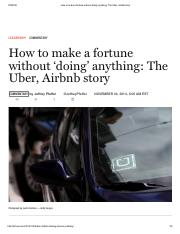 How to make a fortune without 'doing' anything_ The Uber, Airbnb story