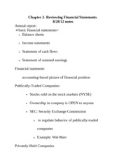 Business Finance- Chapter 2 notes