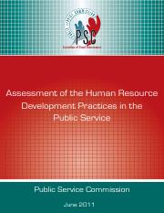 Assessment of the HRD Practices in the Public Service