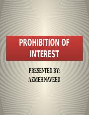 Prohibition of Interest -