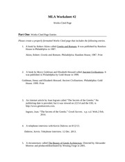 Worksheets Mla Citation Practice Worksheet mlaworksheet mla worksheet2 works cited page part one entries please create a