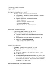 Families and Kinship PPT Notes