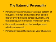 personality trait and theories