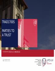 TRAD1700S Slides 2 - Parties to a trust 2016