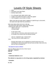 Levels Of Style Sheets Class Note For COSC 2P89