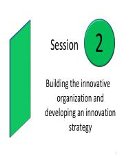 Session 2 Building an innovative organization and developing an innovation strategy  student