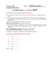 Sample Exam1 Key