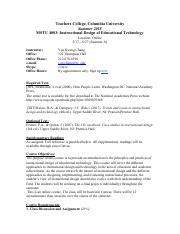 Mstu4083syllabus Summer18 Pdf Teachers College Columbia University Summer 2018 Mstu 4083 Instructional Design Of Educational Technology Location Course Hero