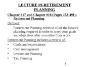 YU 3541 FALL2008-RETIREMENT PLANNING-Revised (Feb 5,2009)