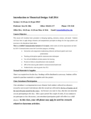 Introduction to Theatrical Design F 2015
