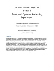 Static and Dynamic Balancing Experiment
